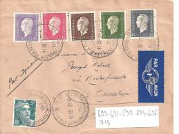 N° 689-691-692-694-696-713- Sur Lettre De PARIS AFFRANCHISSEMENT Pour TAMATAVE Par AVION - Storia Postale