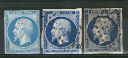 N° 14°_bleu: Ciel-foncé-tres Foncé Sur Chamois_PC 2738_cote 50.00 - 1853-1860 Napoleon III