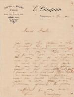 """Valognes (50)  Facture  Format 21 X 27 Cm  """"E. Campain """" - Fabrique De Galoches - Francia"""
