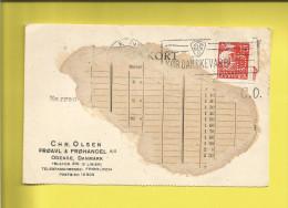 Perforé  Perforés Perfins  DANEMARK Perforé Sur Carte CO Chr. Olsen à ODENSE Le 14 03 1933 Pour Paris VILMORIN ANDRIEUX - Danemark