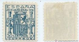 ESPAGNE SPANIEN ESPAÑA 1936 ESCUDO ESPAÑA GRANADA MNH ED 801 MI 750 SG ND1 SC 615 YV 563 - 1931-50 Nuevos & Fijasellos