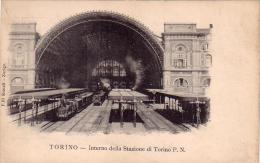 TORINO INTERNO DELLA STAZIONE P.N CON TRENI ANNO 1900/1904 - Stazione Porta Nuova