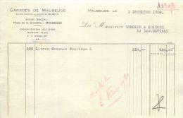 MAUBEUGE FACTURE GARAGES CHENARD § WALCKER DELAHAYE ROSENGART TRAIN GARAGE AUTOMOBILE PLACE GRISOËLLE 59 NORD - Francia