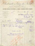 MAUBEUGE FACTURE ELECTRICITE ET GAZ DU NORD STATION ELECTRIQUE JEUMONT HIRSON AULNOYE 59 NORD - Francia