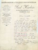 MAUBEUGE FACTURE SERRUERIE TOLERIE PAUL HURBIN 19 RUE HENRY-SCULFORT SERRURIER SOUDEUR 59 NORD - France