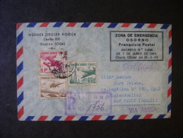 """CHILE - EMERGENCY ZONE """"VOLCANO OSORNO"""" RARE CIRCULAR LETTER REGISTERED TO BRAZIL IN 1960 - Chili"""