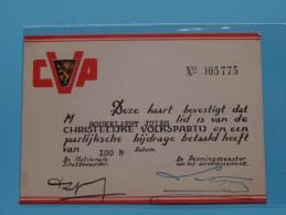 CVP Lidkaart N° 005775 Christelijke Volkspartij Op Naam Van ?? ( Zie Foto´s Voor Details ) ! - Organizations