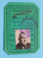 Société Royale D'Encouragement Belgique INVITATION N° 76 Carte Personelle Anno 1961 ( Zie Foto´s Voor Details ) ! - Organisaties