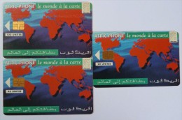 MOROCCO - Afric Phone - World Map 100, 40 & 20 Units - Used - Morocco