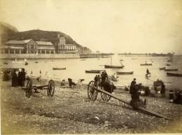 United Kingdom Pays De Galles Llandudno La  Plage Et Jetee Ancienne Photo Bedford 1875 - Ancianas (antes De 1900)