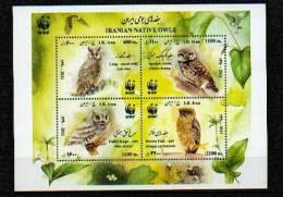 """WWF - Iran - Souvenir Sheet - """"Owls"""" ** / MNH - W.W.F."""