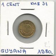 G1 Guyana 1 Cent 1980. Low Mintage - Guyana