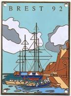 Plaque émaillée Brest 92 (10 X 7,5 Cm) - Advertising (Porcelain) Signs
