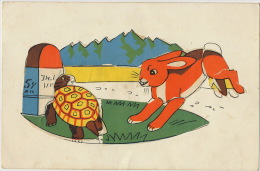 Tortue Et Lievre Carte Collage Fable De La Fontaine - Schildpadden