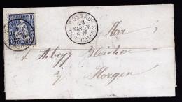 A3829) Schweiz Kleiner Brief Von Gossau 23.3.1866 Nach Horgenmit EF Mi.23 - 1862-1881 Sitzende Helvetia (gezähnt)
