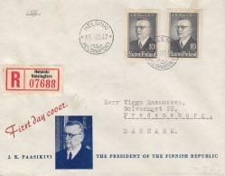 Finlande - Lettre Recommandée De 1947 - Oblitération Helsinki - Storia Postale