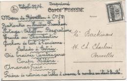 TP 1c Roulette Bruxelles 1910  S/CP Du Restaurant Ravenstein Avec Annonce Manuelle Du Menu De Réveillon V.E/V PR2881 - Precancels