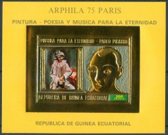 1975 Guinea Equatoriale Pablo Picasso Pittori Painters Quadri Paintings Peintures Gold Printing Block MNH** Pa262 - Picasso