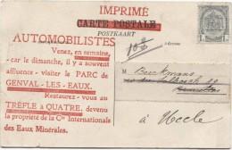 TP 1 C Roulette Genval 1911 S/CP Genval-les-Eaux Publicité Pour Les Automobilistes V.Uccle PR2882 - Precancels