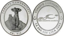 AC - 80th ANNIVERSARY OF TURKISH REPUBLIC # 1 COMMEMORATIVE SILVER COIN TURKEY 2003 UNCIRCULATED - PROOF - Turchia