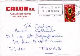 LETTRE De 1986 Flamme Oblitération Mécanique Bormes Les Mimosas (Var) Pub Cote D'Azur Timbre Liberté Gandon A N° 2423 - Marcophilie (Lettres)