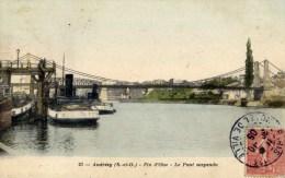 78 ANDRESY Fin D´Oise Le Pont Suspendu Carte Colorisée Remorqueurs Batellerie - Andresy