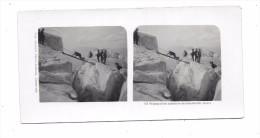 74 - Photo Stéréoscopique : Passage D'une échelle En Dessous Des Grands Mulets, - France