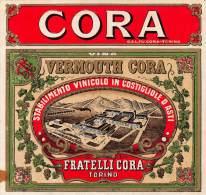 """05041 """"VINO VERMOUTH CORA  - FRATELLI CORA - TORINO"""" ETICH. ORIG. CON TRENO - ORIG. LABEL WITH TRAIN - Etichette"""