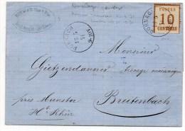 1871 - TIMBRE OCCUPATION ALSACE LORRAINE BURELAGE RENVERSE Sur LETTRE De DORNACH (HAUT RHIN) Pour BREITENBACH - Marcofilia (sobres)