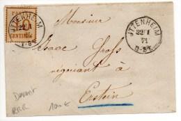 1871 - RARE DEVANT De ITTENHEIM (BAS RHIN) Avec TIMBRE OCCUPATION ALSACE LORRAINE Pour ERSTEIN - Marcofilia (sobres)
