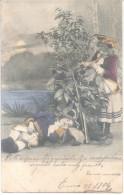 PAREJA DE NIÑOS DONDE EL VARON ESTA DORMIDO Y LA NIÑA TOCA UN CUERNO DE CAZA PARA DESPERTARLO FANTASIA CPA CIRCULEE 1904 - Koppels