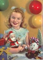 Sweet Blonde Girl W Santa Claus Toy Doll Buon Natale Christmas Postcard 1964 - Jeux Et Jouets