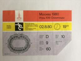 JEUX OLYMPIQUES DE MOSCOU 1980. Billet D´entrée  Stade Lénine FOOTBALL - Other