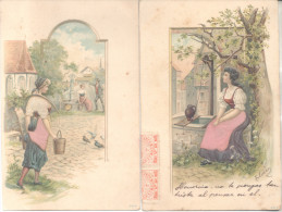 ARTS ET METIERS PORTEUSES D'EAU AGUATERAS ALJIBE CANTARO 2 CPAs GAUFFREES AMBAS CON DOBLES FRANQUEOS 1904 - Artisanat