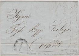 Turkey Ottoman Emp.  Austrian Post Smirne 1856 EL Canc. Lloyd Smirne To Constantinople - Turkey