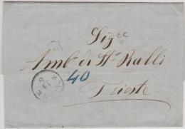Turkey Ottoman Emp.  Austrian Post Smirne 1862 EL Canc. Smirne To Trieste - Turkey