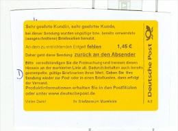 BRD BZ Mannheim Deutsche Post - Label Verwendung Von Ausgeschnittenen Briefmarken - Post