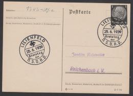POSTKARTE MIT 2 SONDERSTEMPEL KREISTAG DER  N.S.D.A.P.  LILIENFELD - Briefe U. Dokumente