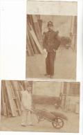 PARIS - 1906 - 67 EME REGIMENT - AVANT ET APRES - OUVRIER D ATELIER - POUR PICAVET - LOT DE 2 CARTES PHOTOS MILITAIRES - Personaggi