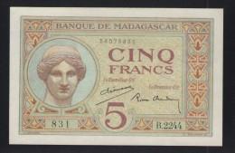 MADAGASCAR - 5 FRANCS Non Daté (1937/1947) Signé P.Chaudun Et A.Dejouany  -  NEUF - Madagascar