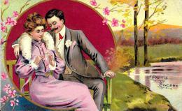 [DC2612] CPA - CARTOLINA ILLUSTRATA - COPPIA DI INNAMORATI - Viaggiata 1907 - Old Postcard - Coppie