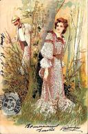 [DC2614] CPA - COPPIA CHE GIOCA A NASCONDINO - ILLUSTRATA IN RILIEVO CON INSERTI DORATI - Viaggiata 1904 - Old Postcard - Coppie