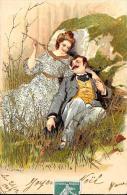 [DC2616] CPA - COPPIA - ILLUSTRATA IN RILIEVO CON INSERTI DORATI - Viaggiata 1902 - Old Postcard - Coppie