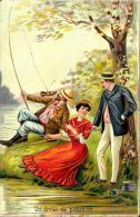 [DC2621] CPA - COPPIA - ILLUSTRATA UN PESCE DIVERTENTE - UN DROLE DE POISSON - Viaggiata 1907 - Old Postcard - Coppie