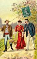 [DC2622] CPA - COPPIA - LA PARTENZA PER LA PESCA - LE DEPART POUR LA PECHE - Viaggiata 1907 - Old Postcard - Coppie