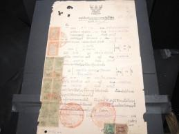 THAILLANDE - Timbres Fiscaux Sur Documents - A Voir - P17352 - Thaïlande