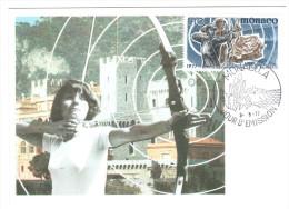 CPSM TIR A L ARC CHALLENGE INTERNATIONNAL RAINIER III MONACO 1977  FLAMME TIMBRE 1ER JOUR MAXIMUM - Tir à L'Arc