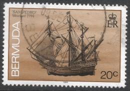 Bermuda. 1986 Ships Wrecked On Bermuda. 20c Used. SG 513A - Bermuda