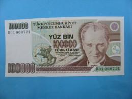 AC - TURKEY- 7TH EMISSION 100 000 TL D 01 000 721 UNCIRCULATED - Turchia