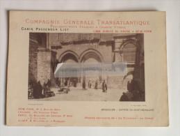 """Paquebot """"La Normandie"""" Compagnie Générale Transatlantique Ligne Directe New-York 1897 Le Havre Jérusalem Saint-Sépulcre - Transports"""